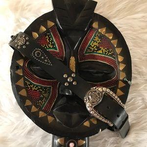 Harley Davidson Med Black Leather Stud Belt 36in